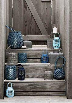 Wooden and metallic lanterns by Broste Copenhagen Coastal Homes, Coastal Living, Coastal Style, Coastal Decor, Summer Decoration, Home Decoration, Interior Exterior, Interior Design, Deco Marine