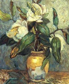 Magnolias in Vase by Turkish Painter Ibrahim Çallı Art And Illustration, Art Floral, Arte Van Gogh, Flower Painting Canvas, Turkish Art, National Gallery Of Art, Still Life Art, Portrait Art, Art World