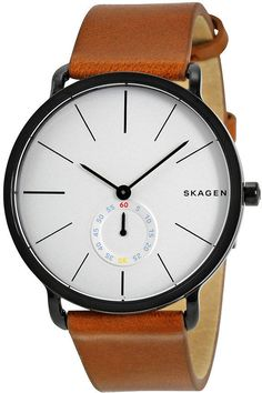 Skagen Hagen White Dial Brown Leather Mens Watch SKW6216: Get it for $104.09 (was $175.00) #coupons #discounts