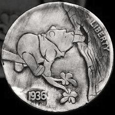 JIM BROYLES HOBO NICKEL - WINNIE THE POOH - 1936 BUFFALO NICKEL Hobo Nickel, Old Coins, Art Forms, Sculpture Art, Winnie The Pooh, Buffalo, Hobbies, Carving, Teddy Bear