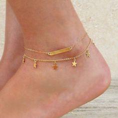 Trendy Pure Color Little Star Shape Anklet For Women