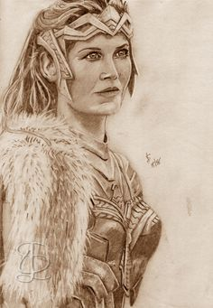 Connie Nielsen as Hippolyta in 'Wonder Woman'. Freehand sketch using HB pencil and eraser. Darkened and tinted digitally. Comic Book Heroes, Comic Books, Pencil, Sketches, Wonder Woman, Statue, Comics, Character, Women