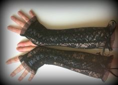 Corset black lace fingerless gloves  of stretch  lace  by Linaline, $30.00
