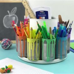 21 Cool School Supplies We Really, Really Want DIY color-coded craft station The best DIY projects & DIY ideas and tutorials: sewing, paper craft, DIY. Ideas About DIY Life Hacks & Crafts 2017 / 2018 Make the Ultimate Homework Station! Watch how to DIY th Jar Crafts, Home Crafts, Tin Can Crafts, Diy Crafts Videos, Diy And Crafts, Diy Videos, Diy Projects Videos, Creative Crafts, Cool School Supplies