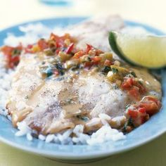 Broiled Tilapia with Thai Coconut-Curry Sauce | MyRecipes.com  We both really liked this.  Super fresh and easy once the prep has been done.  Not hard. Keeper!  Would make for others.