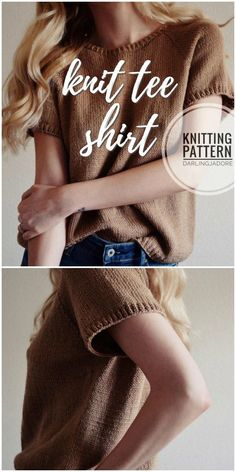 Spring Patterns Super cute knit tee shirt knitting pattern for this short sleeved women's sweater! Perfect for spring! Spring Patterns Super cute knit tee shirt knitting pattern for this short sleeved women's sweater! Perfect for spring! Sweater Knitting Patterns, Knit Patterns, Hand Knitting, Knitting Sweaters, Start Knitting, Knitting Machine, Cardigan Pattern, Knitting Ideas, Skirt Knitting Pattern