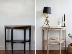 Found: The very best IKEA hacks to hit the do-it-yourself scene in So, grab your glue, pull out the paints, and pick your project. Your home decor game is about to be elevated with these easy, relatively inexpensive DIYs. Ikea Console Table, Ikea Table, Dark Wood Furniture, Stripping Furniture, Ikea Furniture, Dark Table, Bleached Wood, Stained Table, Vintage Decor