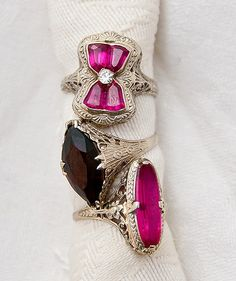 Art deco vintage rings. The one on top is absolutely adorable!!!