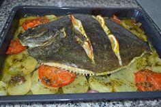 Mi Diversión en la cocina: Rodaballo con patatas y verduras al horno