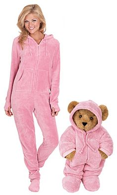 Pink Hoodie Footie Bear and PJs Set - Vermont Teddy Bear Company