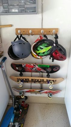 Ikea hack of our own! Pot lid holder for the boys skateboards.
