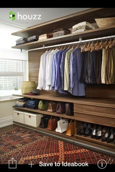 Closet design idea... His side (top shelves for baskets n comforters)
