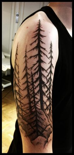 Half Sleeve Pine Tree Tattoos For Men Adventure the great outdoors and smell the fresh pine in the air! Discover the 70 pine tree tattoo ideas for men with cool wilderness and wood designs. Pine Tattoo, Pine Tree Tattoo, Tree Tattoos, Henna Tattoos, Forest Tattoos, Nature Tattoos, Body Art Tattoos, Tree Sleeve Tattoo, Arm Tattoo