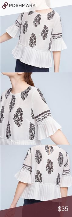 Anthropologie Pleated Blouse Size Small Worn once and recently dry cleaned. Great condition. Anthropologie Tops Blouses