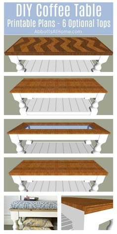 Plans de table basse de ferme bricolage DIY Farmhouse Coffee Table plans – includes printable plans and tutorial for 6 different tops wood and 1 upholstered). DIY Coffee Table Plans a beginner woodworker can build. Diy Furniture Plans, Diy Furniture Projects, Woodworking Furniture, Diy Woodworking, Diy Projects, Woodworking Organization, Farmhouse Furniture, Handmade Furniture, Furniture Making