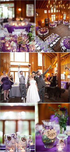 """Les tables rondes, le violet et le gris, les bocaux, les """"étiquette"""" en bois gravé."""