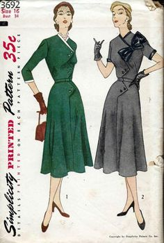 Simplicity 3692; ©1951; MISSES' AND WOMEN'S ONE-PIECE DRESS WITH DETACHABLE TRIM: Right front of dress overlaps the left in an interesting m...