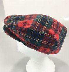 dce19c3eab8 Pendleton Mens L Red Tartan Plaid Virgin Wool Cap Hat Cabbie Newsboy Made  in USA