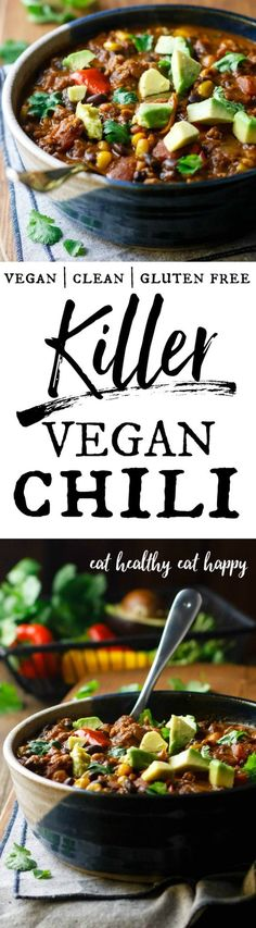 Seriously great chili Packed with slowcooked flavor filling and healthy vegan chili recipe easy best quinoa dairy free meatless fiber Chili Recipes, Veggie Recipes, Whole Food Recipes, Vegetarian Recipes, Healthy Recipes, Vegetarian Chili, Meal Recipes, Veg Chili Recipe, Free Recipes