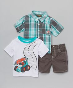 Loving this Gray & Teal Plaid 'Little Racer' Button-Up Set - Infant & Toddler on #zulily! #zulilyfinds