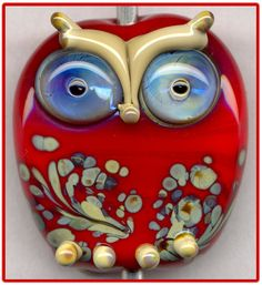 Red Raku Owl Focal Handmade Glass Lampwork Bead Pendant SRA W79 #BeadsByLampwork #LampworkArtisanHandmade