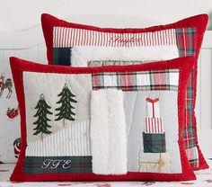 Pottery Barn Kids Quilted Christmas Pillowcase Sham Reindeer Penguin Snowman