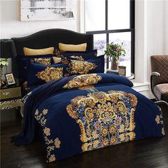 Luxury European Printed Queen King Size 4Pcs Bedding Sets Duvet Cover Sets 100% Cotton Bedlinens Flat Sheet Pillow Cases #Affiliate