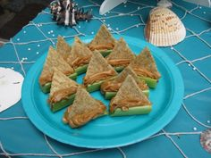 Celery and peanut butter sail boats