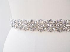 Bridal belt with floating Austrian crystals. $240.00, via Etsy.