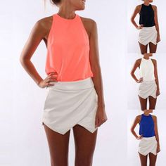 Women Candy Color Sleeveless Crewneck Tee T-Shirt Fashion Camisole Tank Top