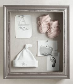 the art of display. create a touching reminder of those earliest days with a shadowbox that serves not only as a showcase for special things - your baby's newborn hat, booties, birth announcement and heirloom gifts - but also as a beautiful focal point for the nursery.