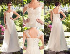 Classic and simple wedding dress with lace straps, which add a bit of elegance.