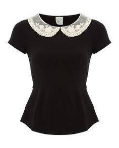 G21 Crochet Collar Peplum Top main view