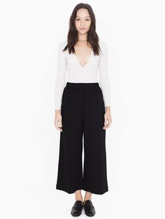 Simple, casual rayon blend pants with elastic waist, cropped length and loose fit.
