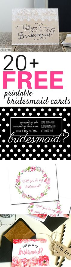 You've said yes to your cute man with a sparkly ring and after you called your mom – who was next on the list? Probably some of your closest girlfriends! Download 20+ FREE printable bridesmaid cards to ask your besties to be a part of your special day!