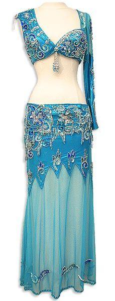 Iridescent Blue Egyptian Bra and Skirt Belly Dance Costume - At DancingRahana.com #BellyDancingCostumes