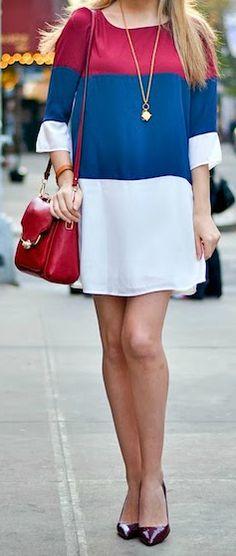 Navy + Wine Red Shift Dress