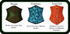 Choosing the right corset ~ Waspie ~ Underbust ~ Long Line