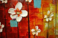ORIGINAL Large Colorful Abstract White Flowers by ModernHouseArt