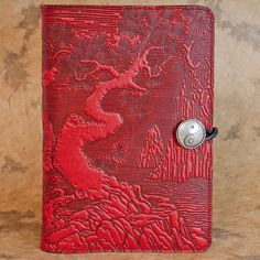 River Garden Moleskine Leather Journal Covers with Pewter Clasp by Oberon Design.