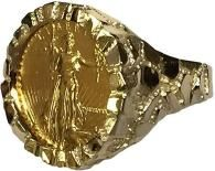 Fine Gold Us American Eagle Coin In Nugget Bold And Angular Ring Mens Emerald Rings, Mens Gold Rings, Rings For Men, Gold American Eagle, Rose Gold Texture, Princess Cut Diamonds, Topaz Ring, Yellow Gold Rings, Anniversary Rings