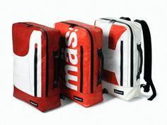 Eco-Chic Freitag Backpacks Made From Recycled Truck Tarps Freitag Bag, Eco Design, Back To School Essentials, Bike Bag, Tarpaulin, Belt Pouch, Vinyl Banners, Backpack Bags, Bag Making