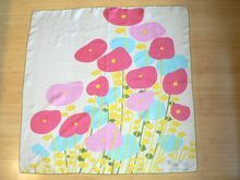 60's Maggy Rouff Poppy Floral Silk Scarf Made in France