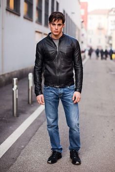 Choosing The Right Men's Leather Jackets – Revival Clothing Leather Jeans Men, Leather Jackets, Denim Jeans, Black Leather, Leather Fashion, Mens Fashion, Pietro Boselli, Revival Clothing, Hommes Sexy