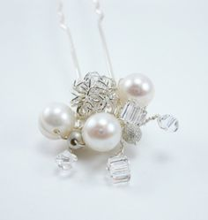 Hair Pin Swarovski Crystal Hair Pin Pearl Hairpin by Heidisjewels, $18.00