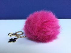 31.95$  Watch now - http://vikyb.justgood.pw/vig/item.php?t=zssoxlp3997 - Deep Pink Fox Fur Pompom bag charm pendant Fur Pompoms keychain with flower clov 31.95$