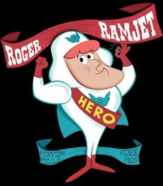 "Roger Ramjet is a patriotic and highly moral — if not very bright — hero, who is typically out to save the world, with help from his Proton Energy Pills (""PEP""), which give him ""the strength of twenty atom bombs for a period of twenty seconds"". Vintage Coloring Books, Battle Of The Planets, Life Tv, Cartoon Books, Orange Art, Daffy Duck, Rainbow Brite, Old Tv, Classic Tv"