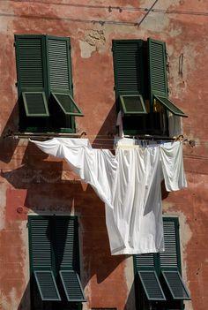Windows with laundry, Italy-Linda Hendry Italian Summer, Laundry Room, Laundry Art, Old Windows, Northern Italy, Toscana, Summer Aesthetic, Belle Photo, Dream Life
