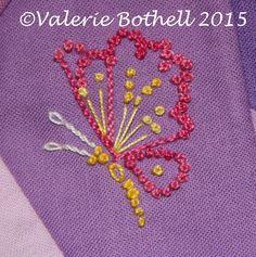 Crazy Quilt Stitch #221, French Knots + Lazy Daisies + Stem Stitch + Straight Stitch ©Valerie Bothell