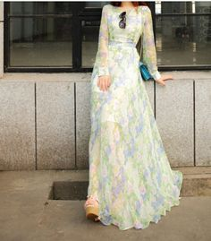 Elegant Floral Print Maxi Dress Wedding Dress Evening Dress Formal Dress Prom Party Dress Bridesmaid Dress Size S/M/L Long Sleeve on Etsy, $79.00